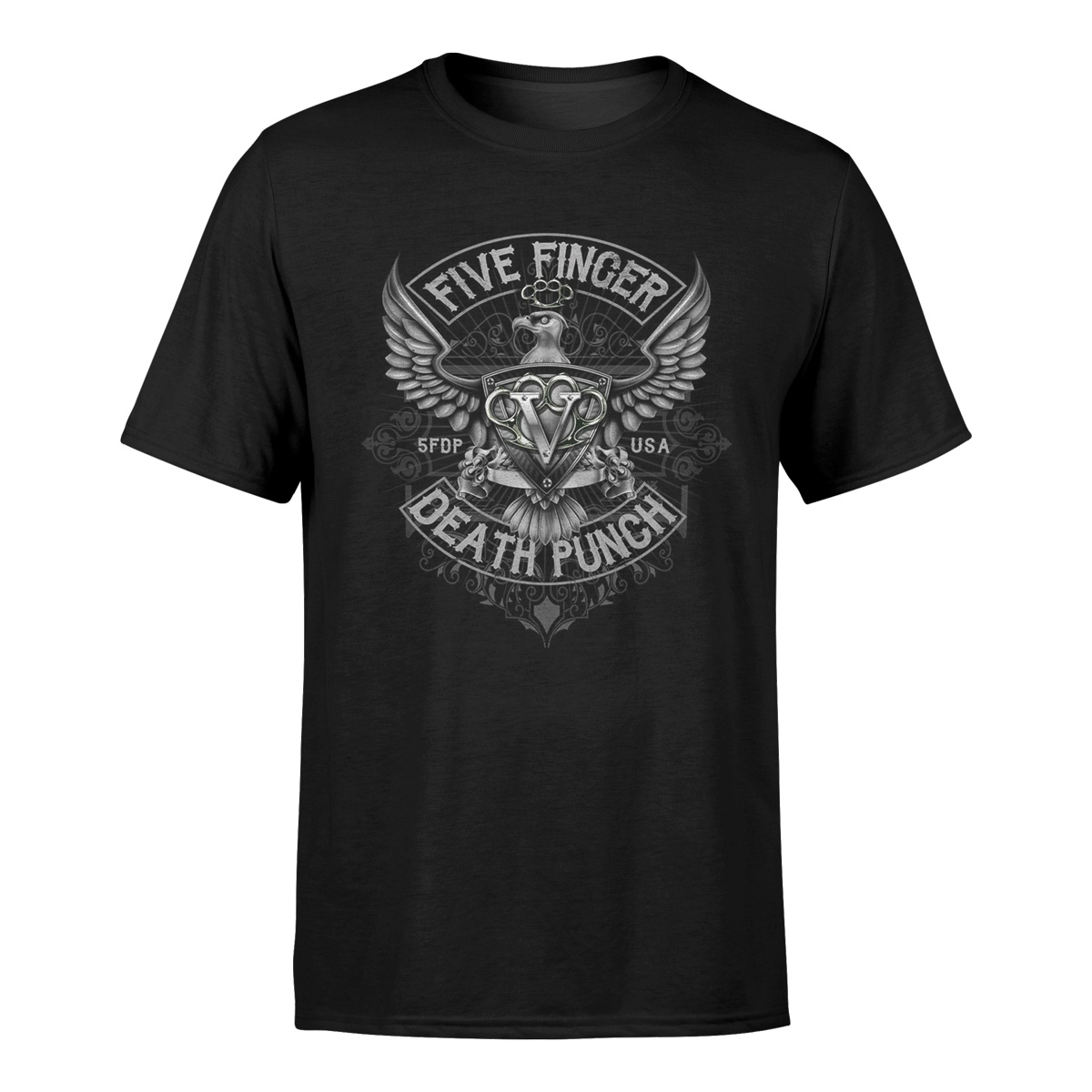 FIVE FINGER DEATH PUNCH CHEVRON Official T Shirt Green Mens Licensed Import