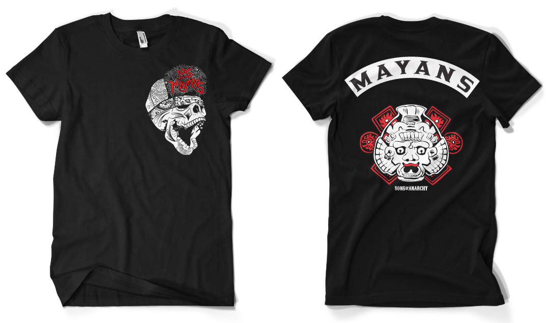 651fbcd46aa Official Los Mayans Back Patch Sons Of Anarchy Biker T-Shirt